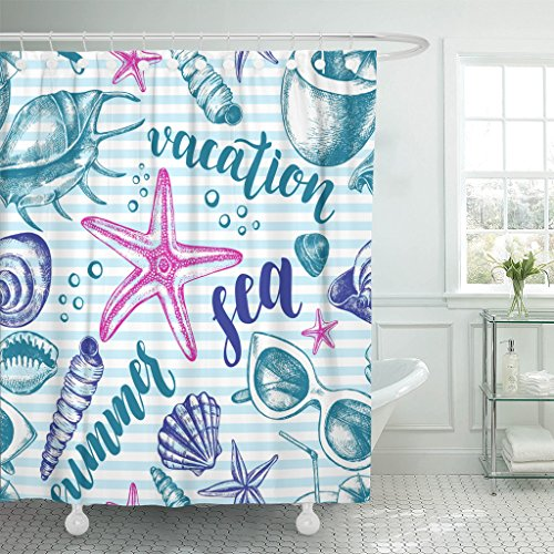 Emvency Shower Curtain Curtainsink Mollusk Sea Shells Starfishes Pebbles Cocktail and Sunglasses Summer Extra Long 72