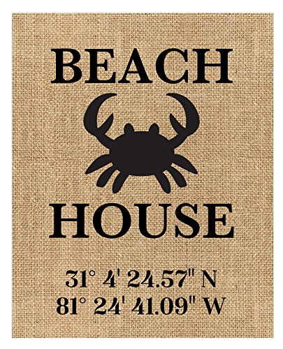 ♥ Personalized Beach House Sign 100 Percent Burlap or Canvas Print ♥ Personalized with the GPS location of the your Beach House or Your Favourite Beach Location