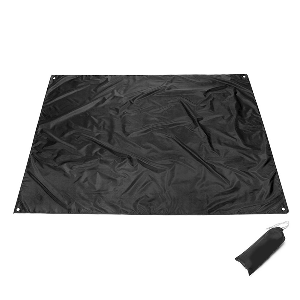 cyclamen9 Camping Blanket Beach Blanket, Portable Lightweight Waterproof Sandproof Pocket Picnic Blanket,Outdoor Oxford Beach Mat Sand Mat with Carry Bag,210CM150CM(Black)
