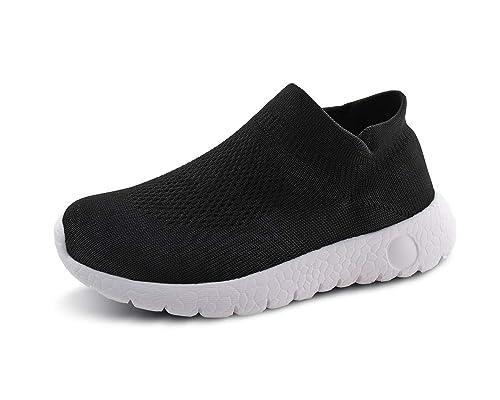 6b923fbd68ffc Jabasic Kids Walking Shoes Boys Girls Breathable Slip on Knit Sock Sneakers