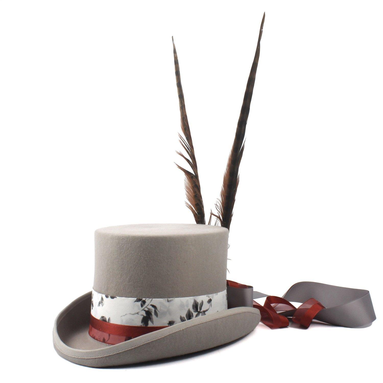 gris 57CM OLLVU Chapeaux Chapeau Steampunk de Mode Vintage en Laine gris Punk à Longues Plumes pour Hommes, décoré de Haut Plat Chapeaux (Couleur   gris, Taille   61CM)