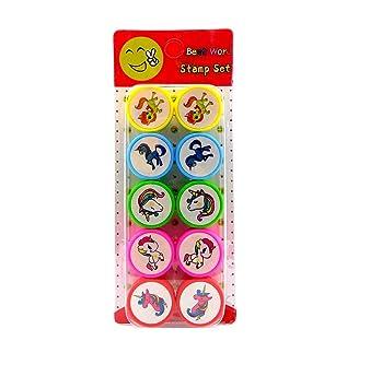 Pencil Top Unicorn Stamps for Kids Set of 10 Unicorn Deisgns