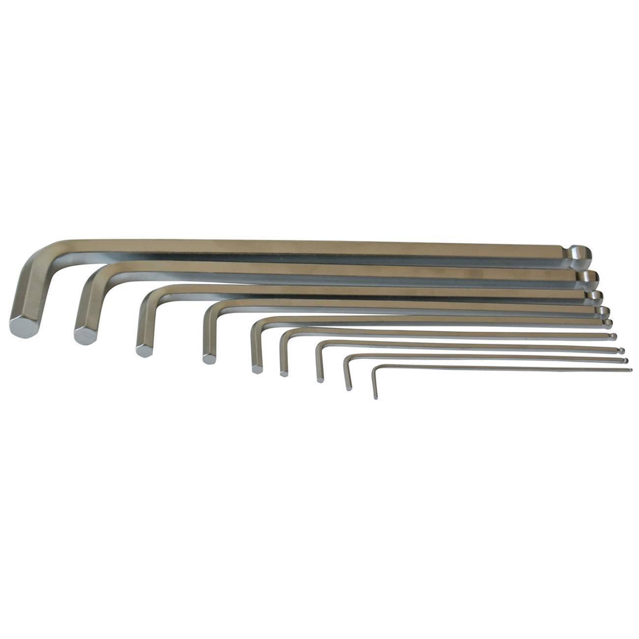 10 mm Ball End Allen Hex Key Set 9 St/ücke Metrisches Innensechskantschl/üssel Satz mit Kugelkopf 1,5 mm