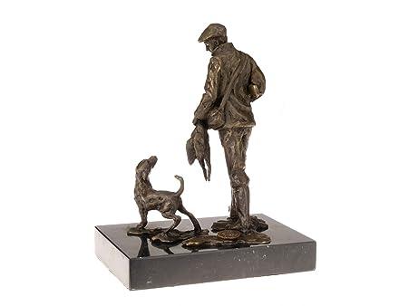 Bronzeskulptur Jäger Jagdhund Bronze Jagd Hund Figur Skulptur Antik-Stil Antiques