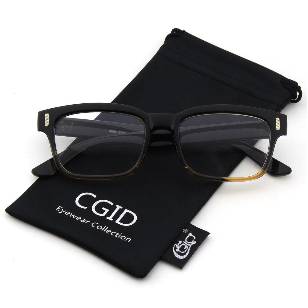 332bffa627 Amazon.com  Happy Store CN84 Casual Fashion Horned Rim Rectangular Bold  Thick Frame Clear Lens Eye Glasses