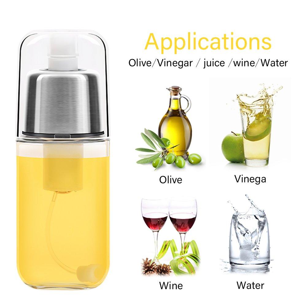 Weeygo Pulverizador de Aceite, Prima Botella dispensadora del rociador de Aceite del Vidrio del Acero Inoxidable para cocinar, Ensalada, hornada