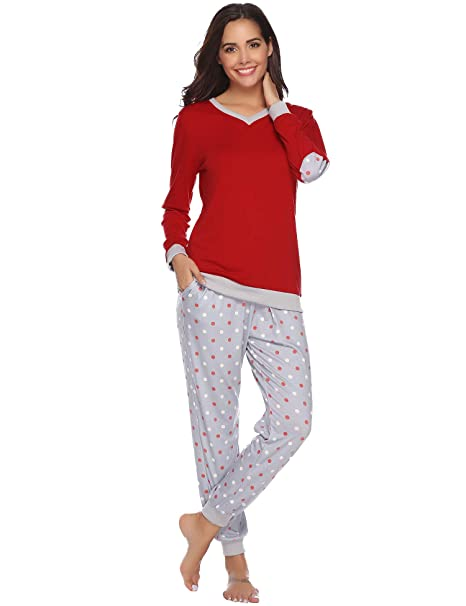 a1d9fe4b51 Image Unavailable. Image not available for. Color  Hawiton Women s Cotton  Long Sleeve Pajamas ...