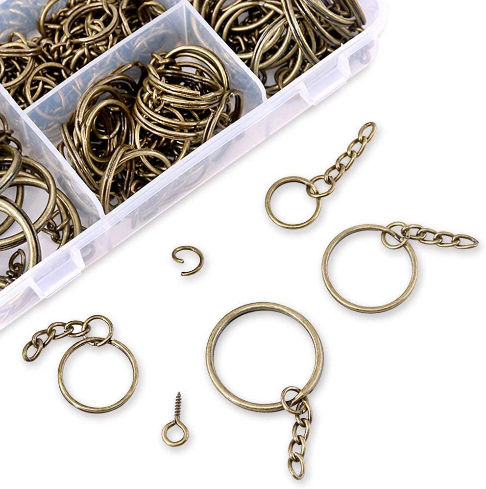 6//5 Inch Swpeet 300Pcs Bronze Key Chain Rings Kit 1 Inch 100Pcs Keychain Rings with Chain and 100Pcs Jump Ring with 100Pcs Screw Eye Pins Bulk for Jewelry Findings Making 3//5 Inch 4//5 Inch