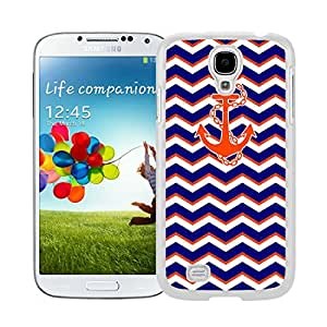 BINGO sale funky Chevron Pattern Blue With Anchor Watercolor Samsung Galaxy S4 i9500 Case White Cover
