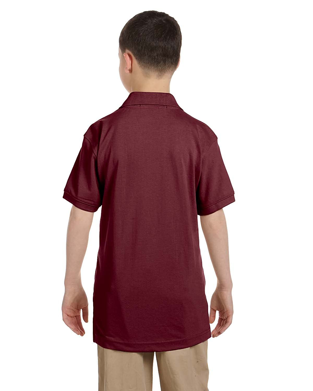 Harriton Youth 5.6 oz M Easy Blend Polo WINE