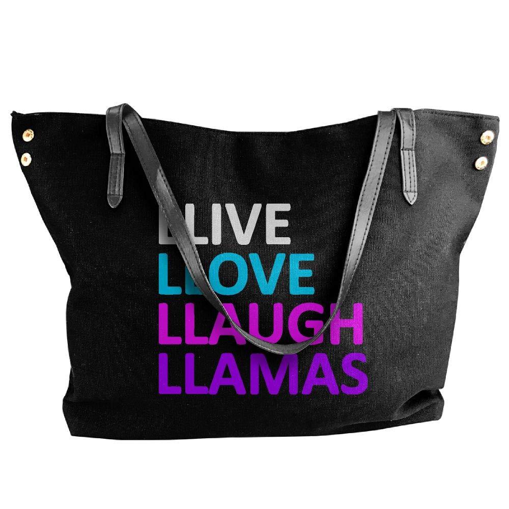 Women's Canvas Large Tote Shoulder Handbag Live Love Laugh Llamas Hobo Handbag Bag Tote