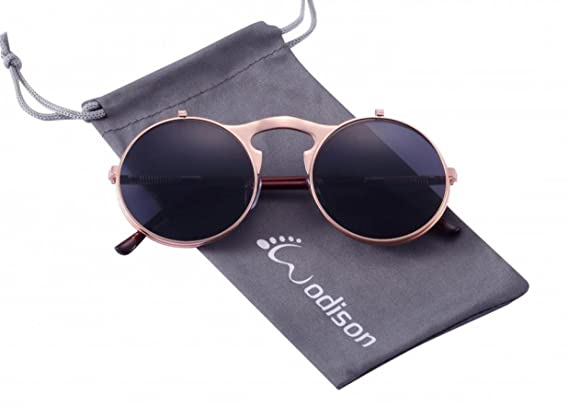 f26ddc7edf3 WODISON Steampunk Style Sunglasses Flip up Round Lens for Men Women with  Pouch  Amazon.co.uk  Clothing