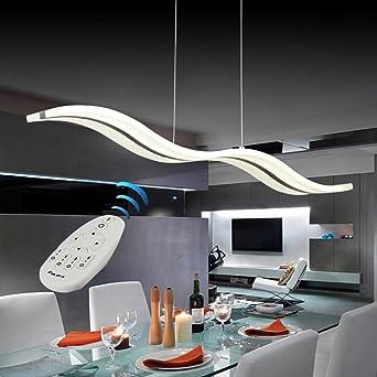 Vi Xixi LED Pendelleuchte Dimmbar Moderne Kronleuchter Deckenleuchten  Höhenverstellbar Fernbedienung Für Esszimmer Wohnzimmer, Wellenform