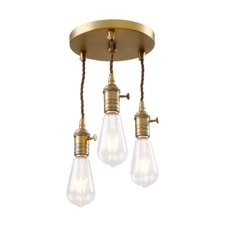 Phansthy Pendelleuchten Vintage Retro Pendelleuchten Phansthy Hängelampe 3-Flammig E27 Edison Lampenfassung Industrie-Stil höhenverstellbar Kronleuchter für Esszimmer Küche b084ec