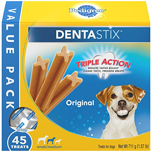PEDIGREE DENTASTIX Small/Medium Dental Dog Treats Original, 1.57 lb. Value Pack (45 Treats)