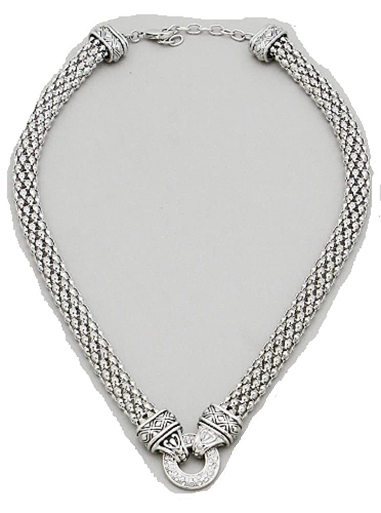 Necklace Luxurious Mesh Chain Crystal Round Pave And Double Sided Aztec Tube