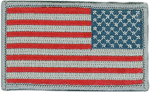 Tactical Reverse USA Flag Patch - Subdued Silver