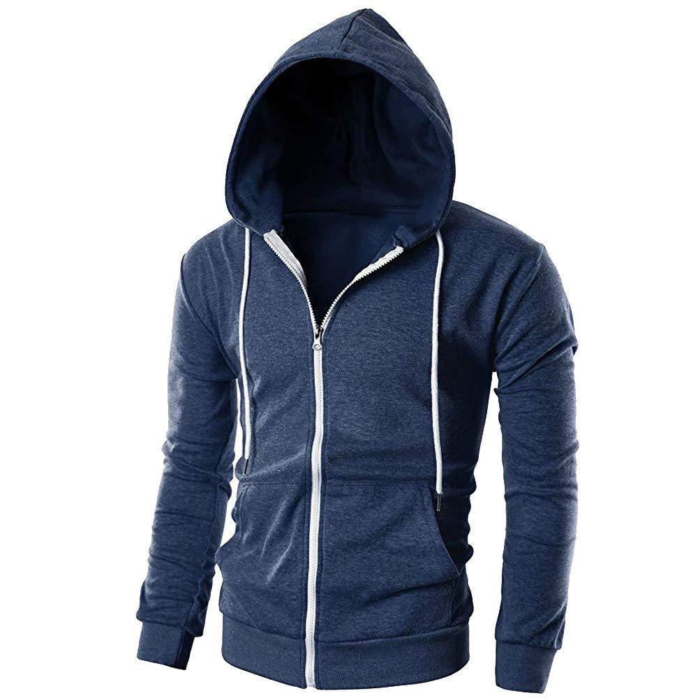 Sweat Hommes Casual Slim Fit /À Manches Longues Zipper Hoodie Hommes Veste Matelass/ée avec Poche Outwear Blouse