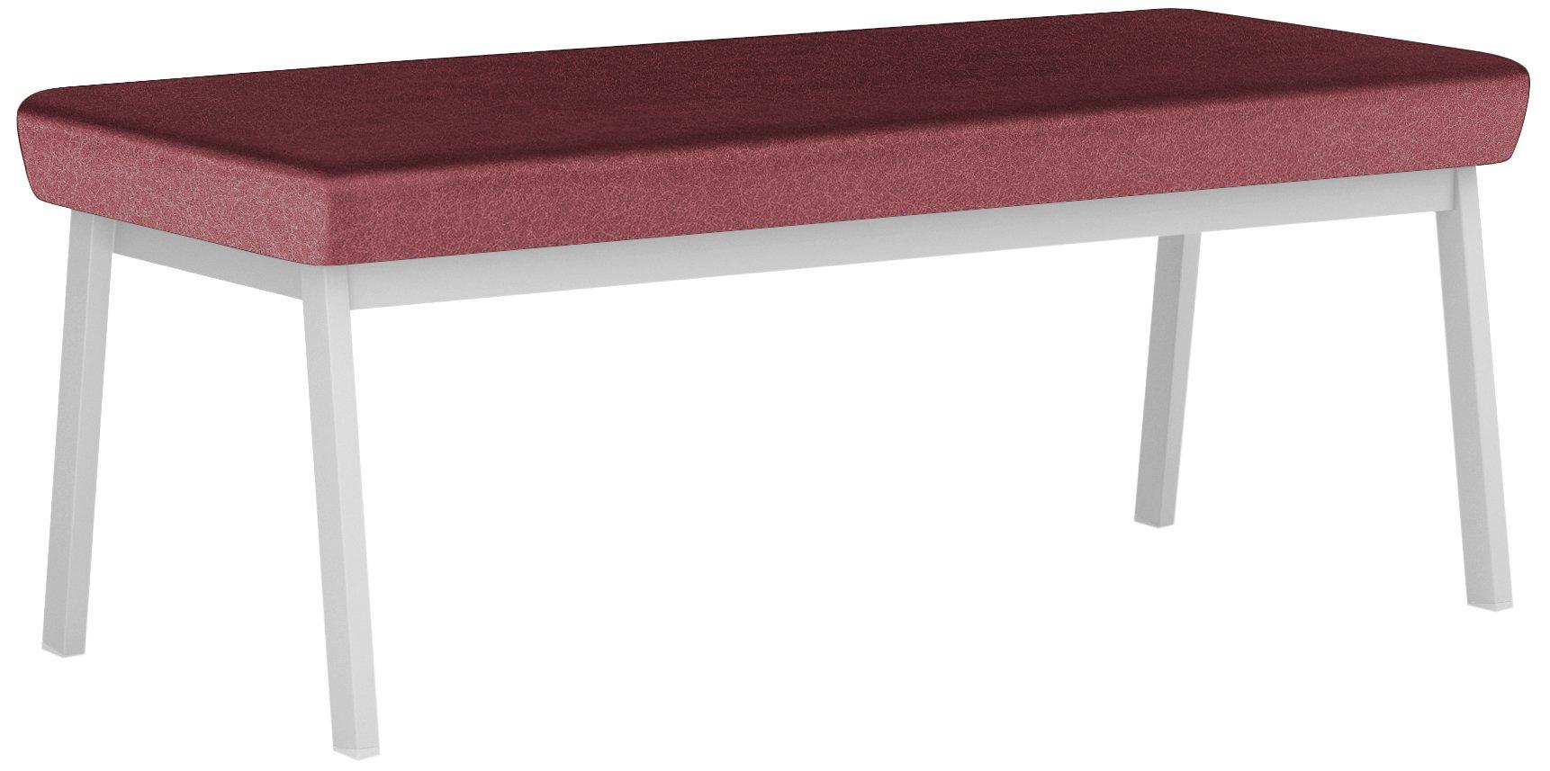 Newport Healthcare Vinyl 2-Seat Bench, Renaissance Wineberry, Silver
