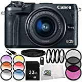 Canon EOS M6 Mirrorless Digital Camera with 15-45mm Lens (Black) 9PC Accessory Bundle – Includes 32GB SD Memory Card + MORE - International Version (No Warranty)