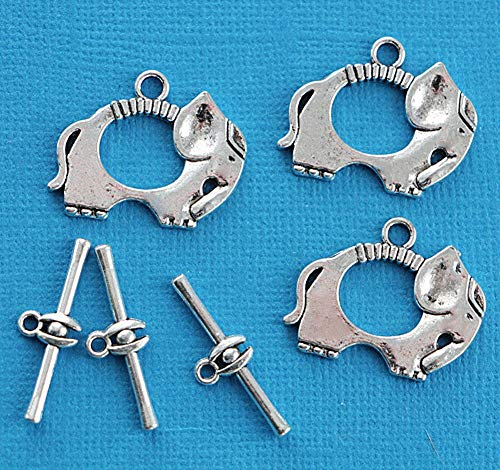 (3 Pcs Elephant Toggle Clasps Sets Antique Silver Pendant Necklace Bracelet Jewelry Making Supplies Craft DIY Kit)