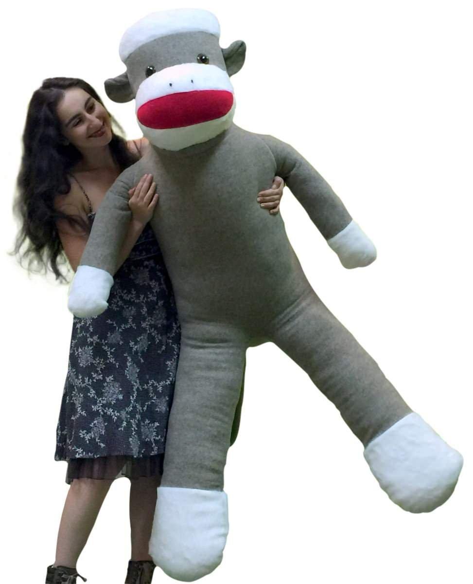 American Made Plush Giant Sock Monkey 6 Feet Tall Soft Huge Stuffed Animal Made in USA America