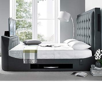 Super King Tv Bed >> Fabric Tv Bed Happy Beds Titan Berwick Grey Modern Bed 6ft Super