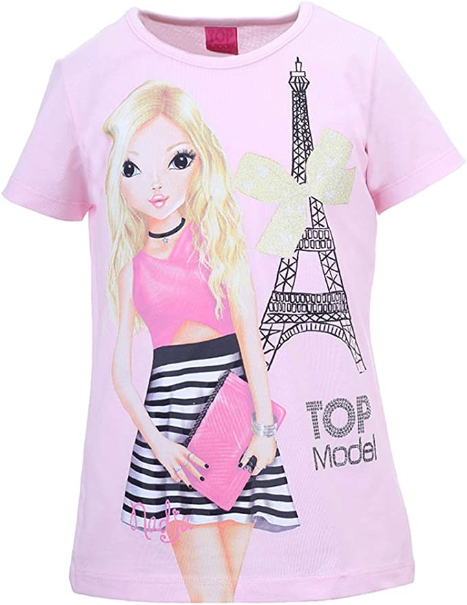T-Shirt TOP MODEL Ragazze Maglietta Rosa