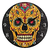 KUWT Mexican Sugar Skull Wall Clock Silent Non-Ticking 9.5 Inch Round Clock Acrylic Art Painting Home Office School Decor