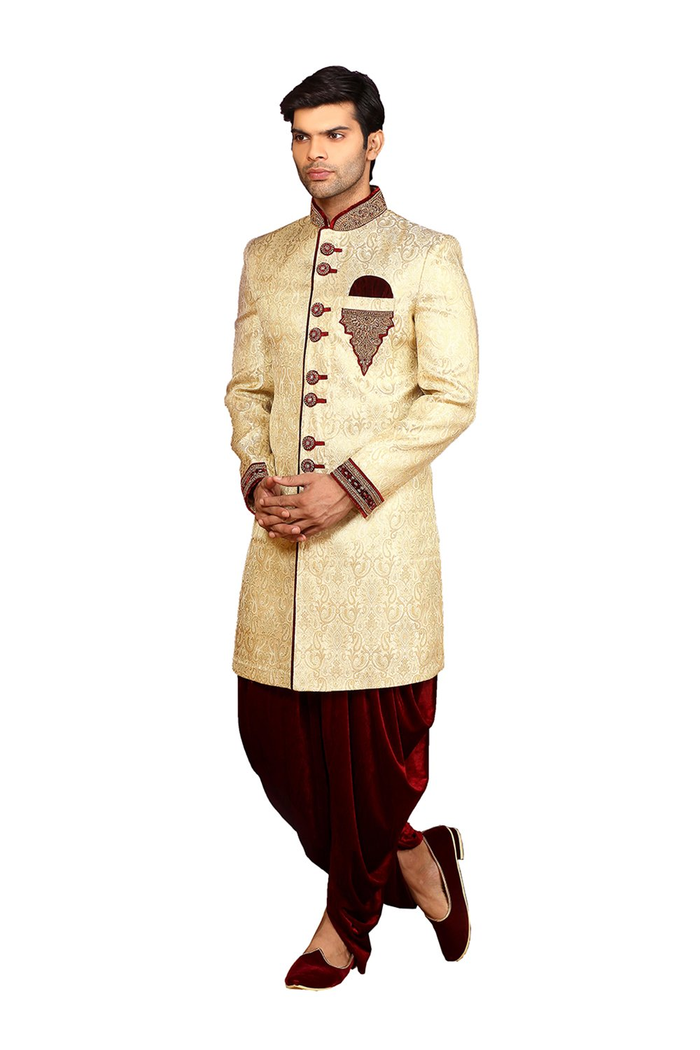 PinkCityCreations PCC Mens Indo Western Wedding Fawn Designer Partywear Traditional R-25428