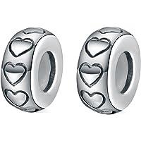 Globalwin Jewellery 2Pcs Espaceur/Stoppeur/Bloqueur Charms Argent 925 Silicone pour Pandora/Style Européen Bracelets