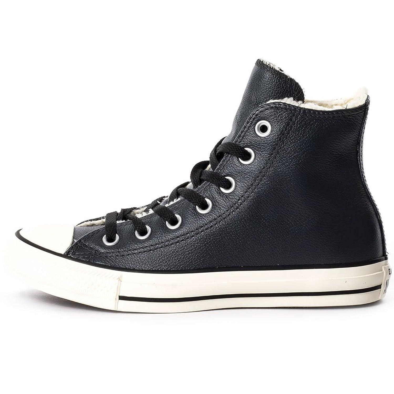 black leather converse hi tops