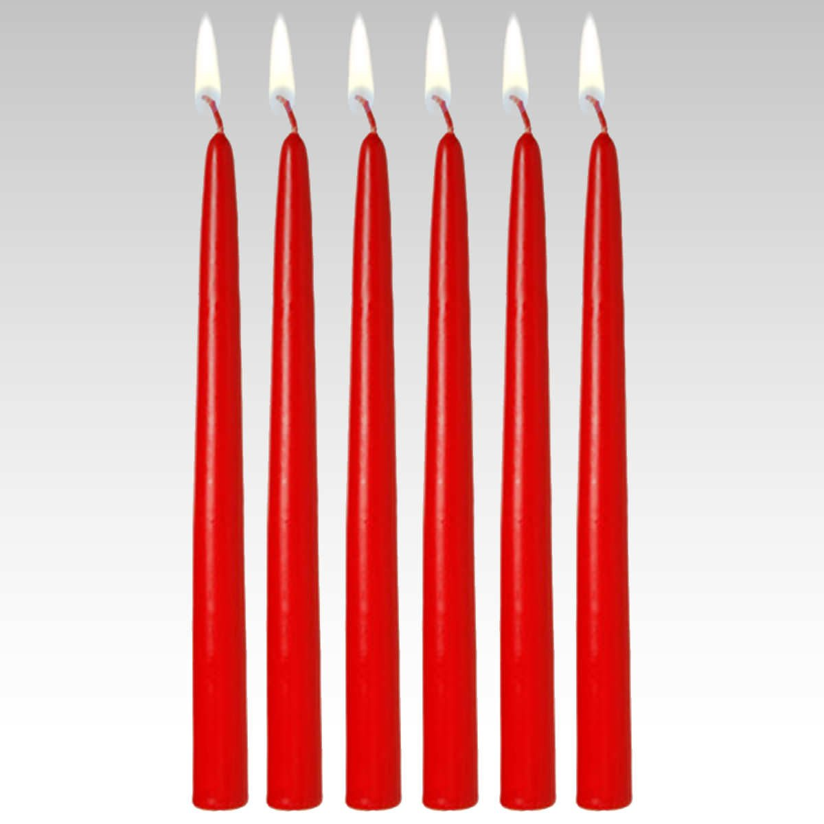 Candles4Less - Bulk 12'' Red Unscented Taper Candles (144 Pieces), Red Dripless Taper Candles with Lead Free Cotton Wicks Made in USA