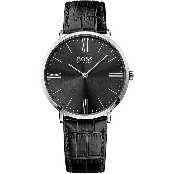 Hugo Boss Jackson 1513369 negro/negro piel analógica cuarzo hombres del reloj por Hugo Boss: Amazon.es: Relojes