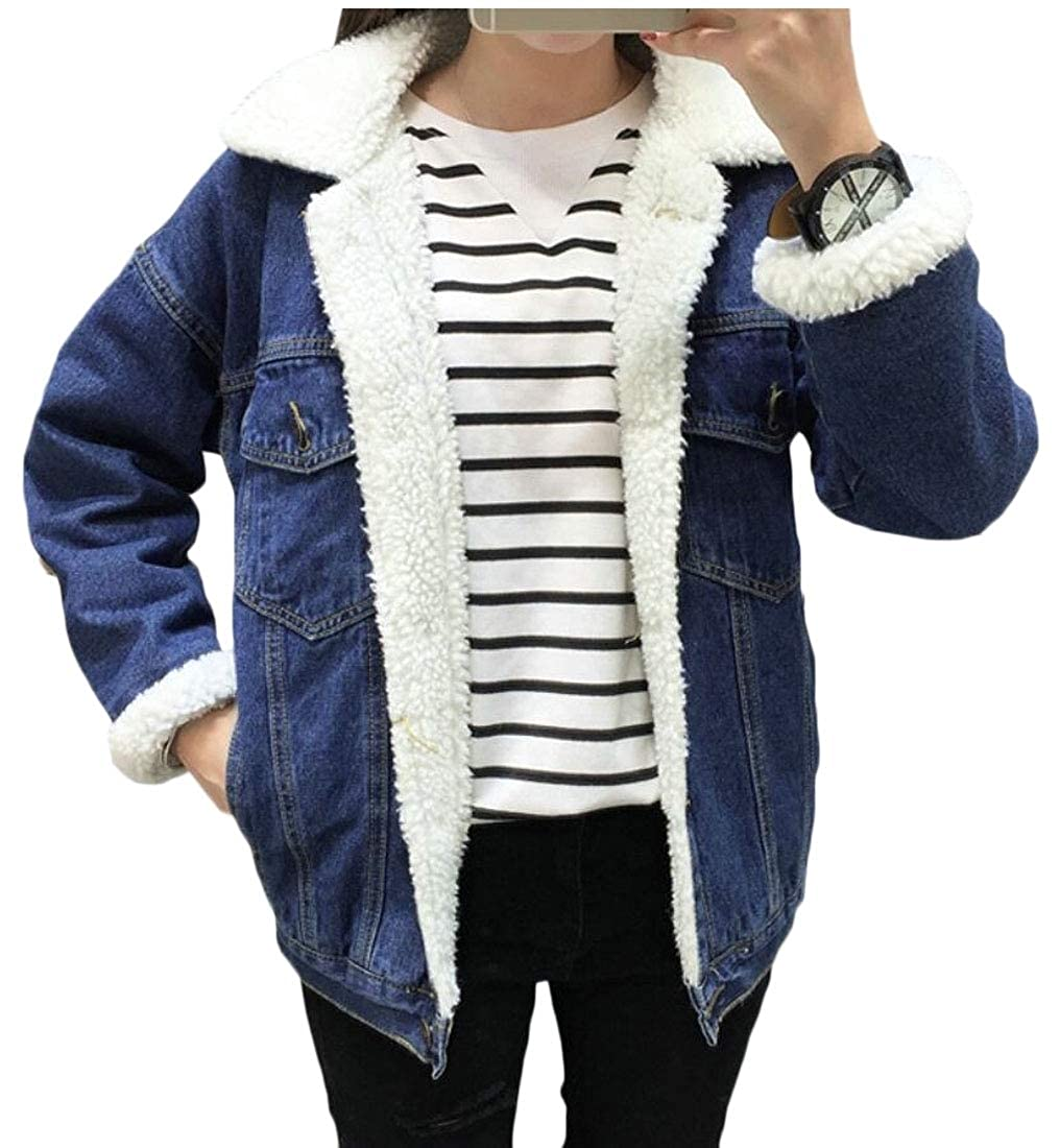 Dark bluee Qiangjinjiu Women's Boyfriend Winter Faux Fur Collar Fleece Lined Denim Jacket Coats