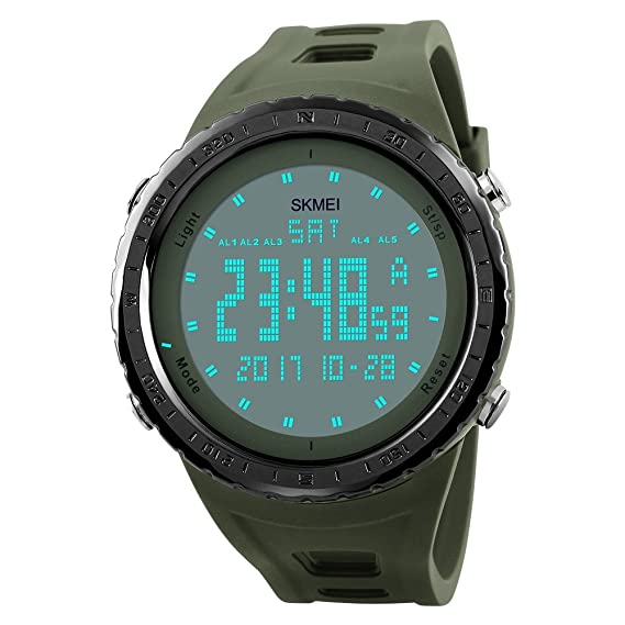 Mens LED Digital Outdoor Sport Watch Waterproof 50M 164FT Water Resistant Multifunction Electronic Military 12H/