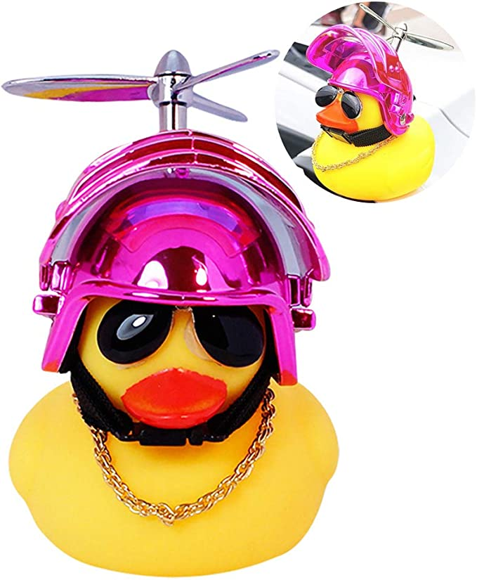 +Rubber Duck with Helmet Yellow Duck Toy Car Ornaments Car Dashboard Decorations