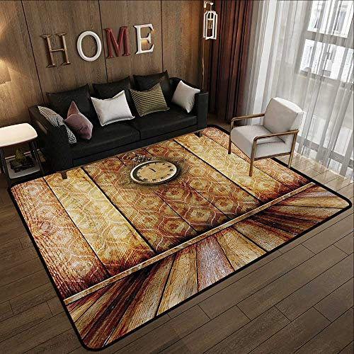 - American Floor mats,Victorian Decor,Antique Clock on Medieval Style Wall Wooden Floor Classic Architecture Theme Art,Beige Brown 78.7
