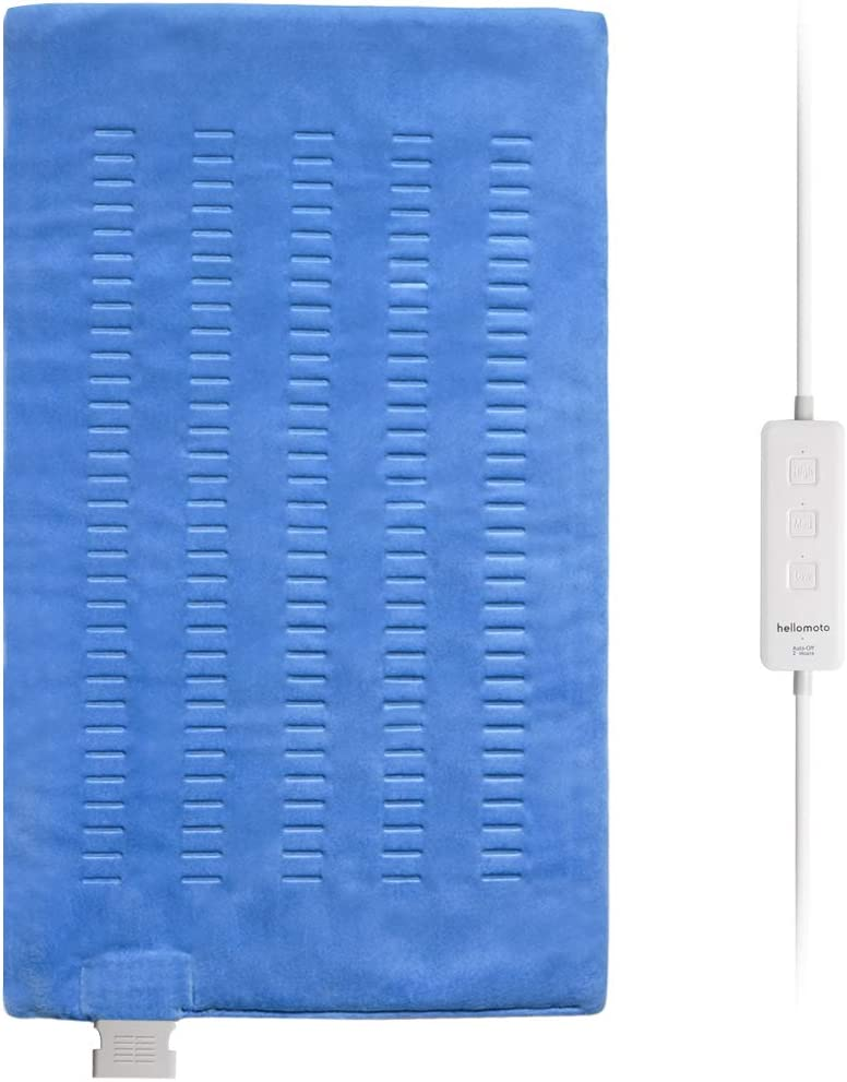 Hellomoto Large Electric Heating Pad, Heating Pad for Moist & Dry Heat, 3 Temperature Settings with Auto Shut Off - 12x24 Inch