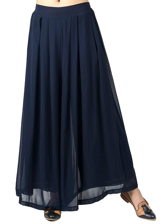 Persun Women's Loose Pleated Chiffon Wide Leg Elastic Waist Palazzo Pants