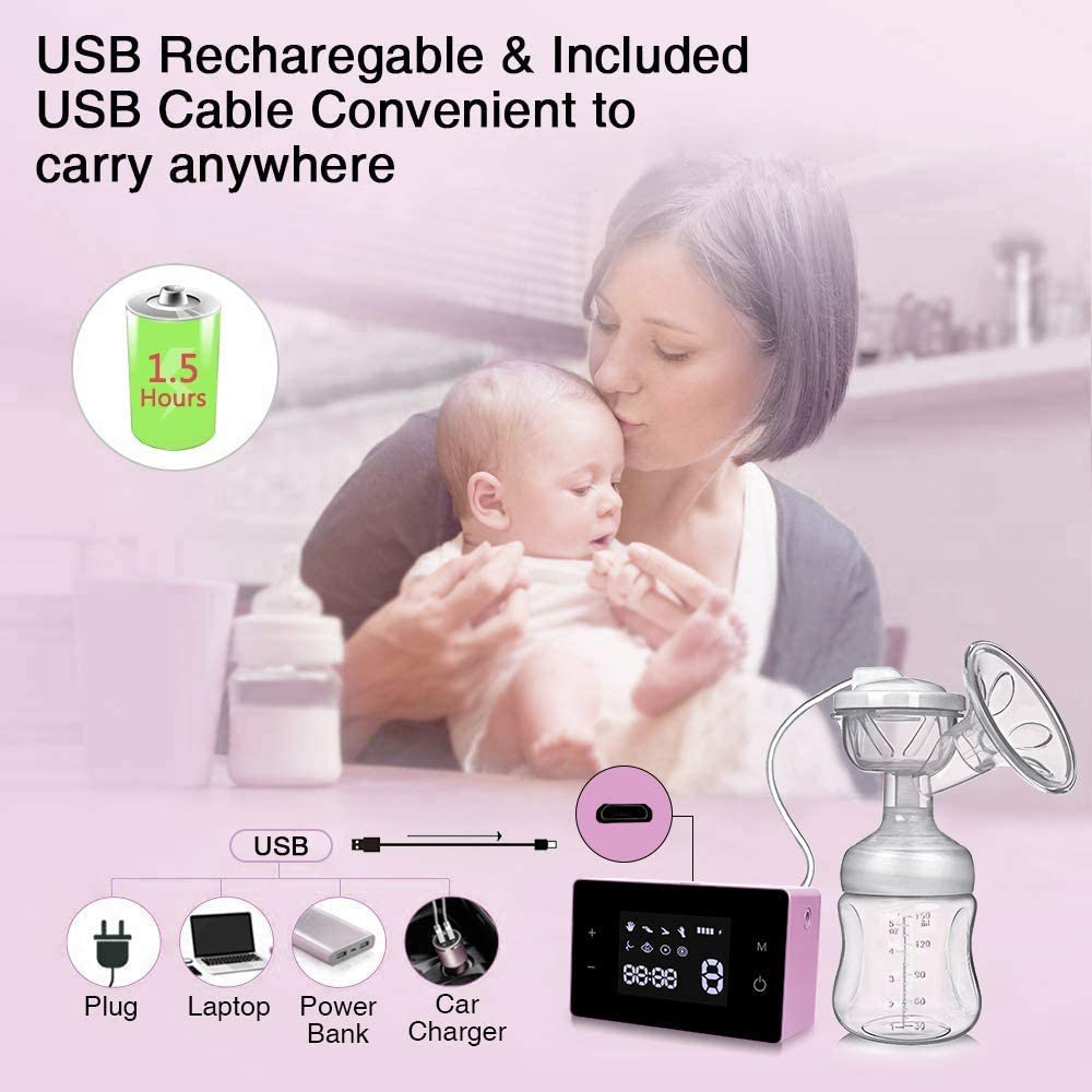 Double//Single Breast Pumps Portable Breastfeeding Pump with Smart LCD Touch Screen with 4 Modes 10 Levels Breast Milk Suction Electric Breast Pump Breast Massage and Nipple Correction