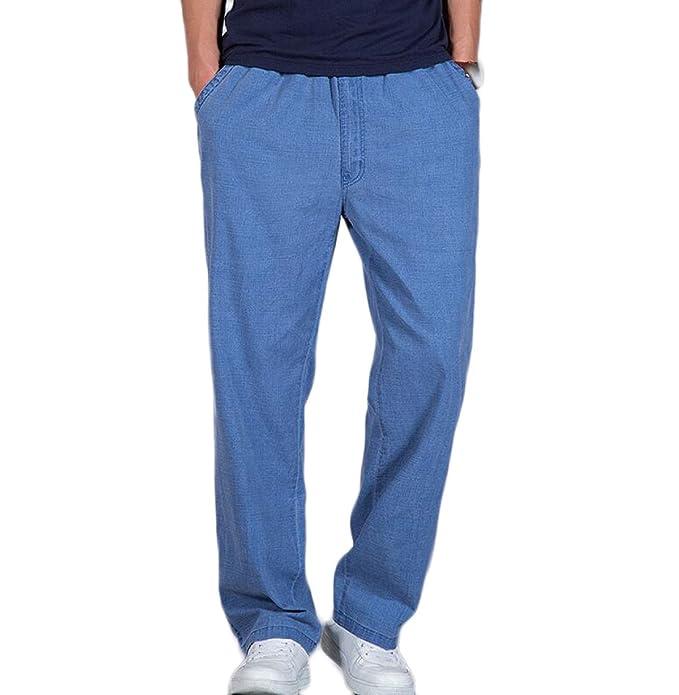 Pantalones Ocasionales Flojos del Verano De Los Hombres Pantalones Rectos  De La Pierna Pantalones del Gran Tamaño del Lino del Algodón 88a0df857386