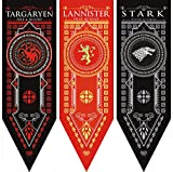 """Game of Thrones House Sigil Tournament Banner (18"""" by 60"""") 100% Polyester High Quality Banner - Set of 3 Party Supplies"""