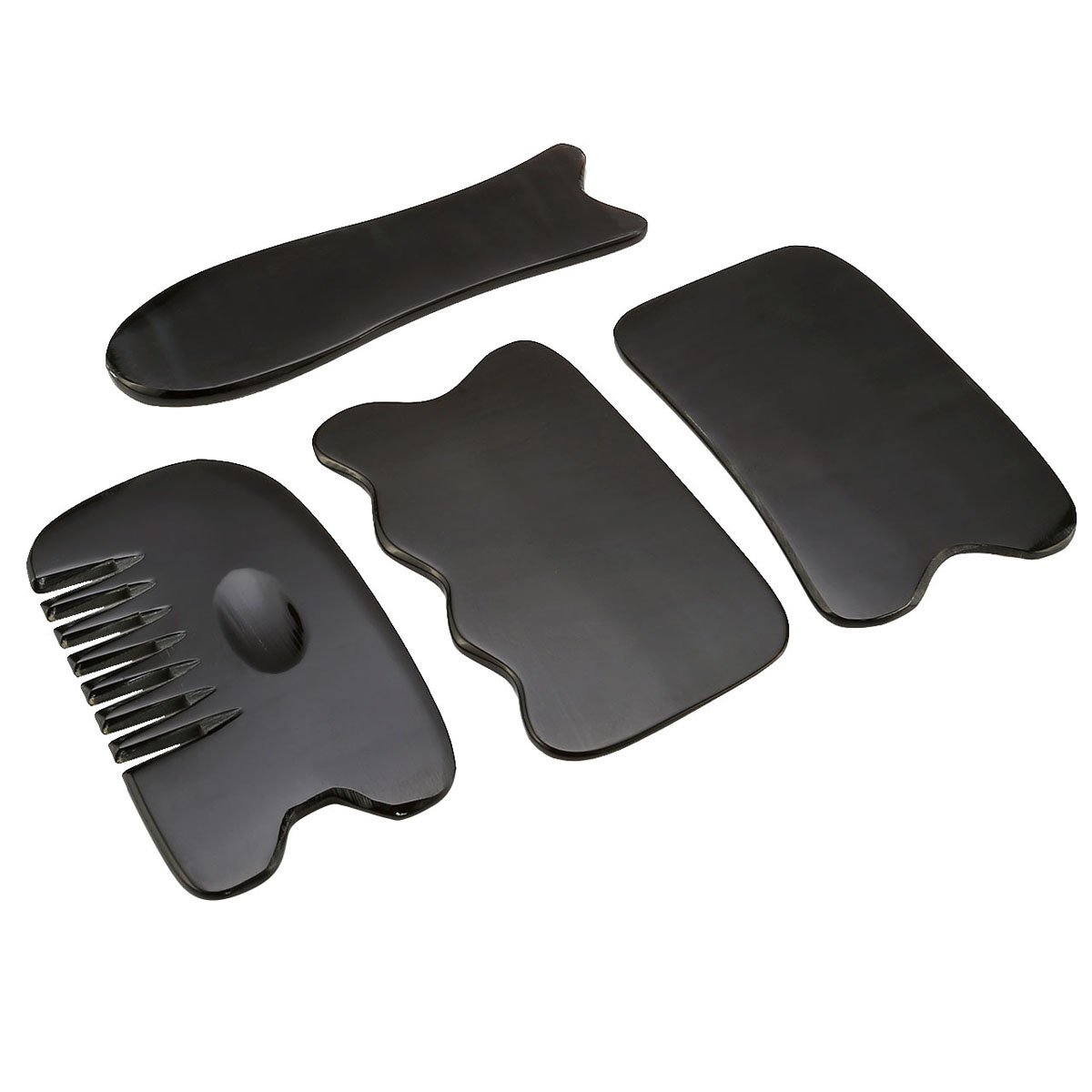 QGEM Natural Water Buffalo Horn Gua Sha Scraping Massage Tool Set of 4, 100% Hand Made Guasha Board Stick for Acupuncture Point Therapy, Perfect Therapy Tool for Graston Technique-#3