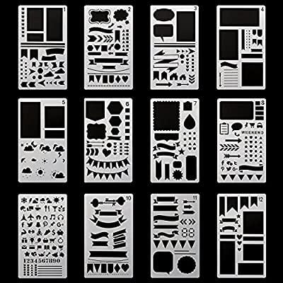 ONEST 12 Pack bullet journal stencils Journal/Notebook/Diary/Scrapbook DIY Drawing Template Stencil 4x7 Inch with 1 Blue Zip Pouch