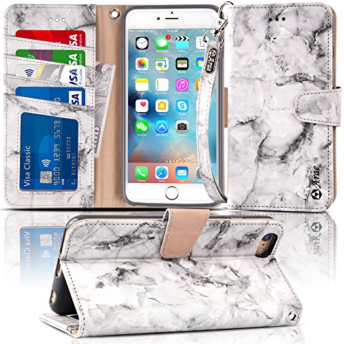 Arae Wallet case for iPhone 6s Plus/iPhone 6 Plus [Kickstand Feature] PU Leather with ID&Credit Card Pockets for iPhone 6 Plus / 6S Plus 5.5 (not for 6/6s) (Marble Grey)