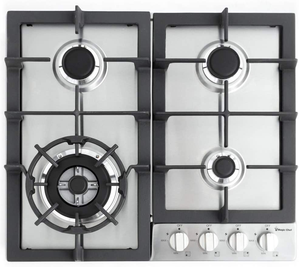 Magic Chef 24 Built MCSCTG24S 24 Gas Cooktop with 4 Burners Stainless Steel