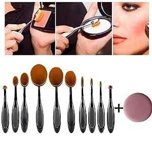 U-beauty 10PC/Set Toothbrush Eyebrow Foundation Eyeliner Lip Oval Brushes Free Makeup Sponge Blender