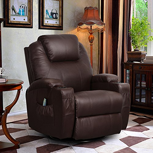 360 Degree Swivel Massage Recliner Leather Sofa Chair Ergonomic Lounge Swivel Heated with Control - Brown (Power Recliner Rocker)