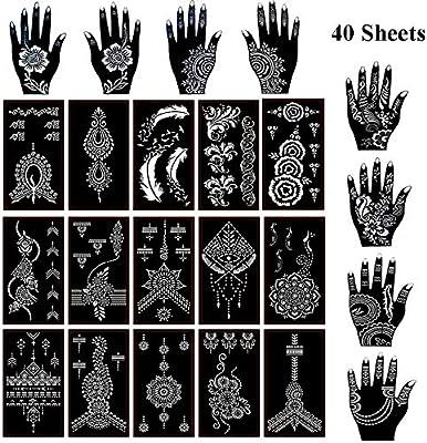 Xmasir 40 Sheets Self Adhesive Henna Tattoo Stencils Set Mehndi Template For Tattoo Body Art Painting Indian Arabian Airbrush Tattoos Amazon Sg Beauty